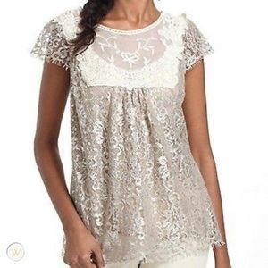 Anthropologie HD in Paris Metallic Lace Top Size 2